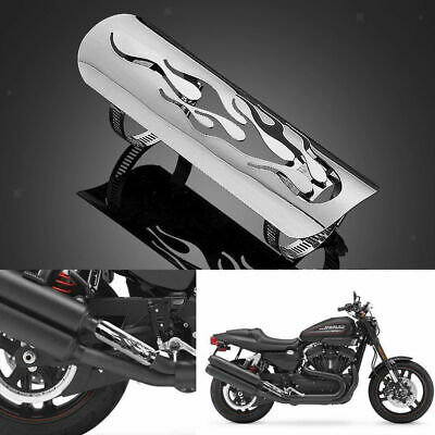 Pierced Chrome Motorcycle Flame Exhaust Muffler Pipe Heat Shield Cover Black