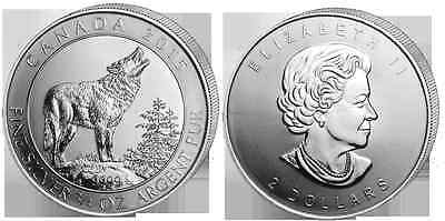CANADA 2 Dollars Argent 3/4 Once Loup Gris 2015 - 3/4 Oz silver coin Grey Wolf