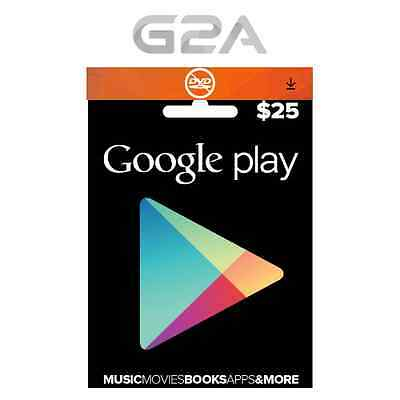$25 USD Google PLAY CARD - 25 Dollars Google Play Store GIFT Code Android Key