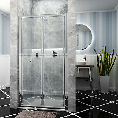 Bifold Door Shower Enclosure and Tray Free Waste Glass Screen&Side Panel Cubicle
