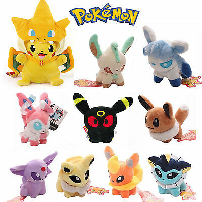 Pokemon Pikachu Umbreon Espeon Eevee Soft Stuffed Plush Doll Kids Toy Xmas Gift