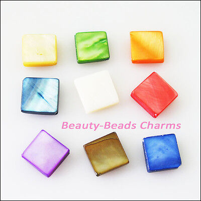 20 New Charms Natural Shell Loose Square Flat Spacer Beads 9mm Mixed