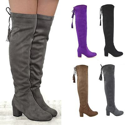 New Womens Over The Knee High Stretch Leg Ladies Block Heel Lace Up Long Boots