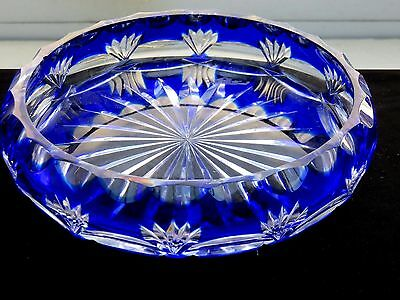 Beautiful Design Blue And Clear Cut Crystal Display Bowl