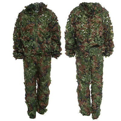3D Ghillie Bionic Suit With Leafy Camouflage For Jungle Hunting Woodland