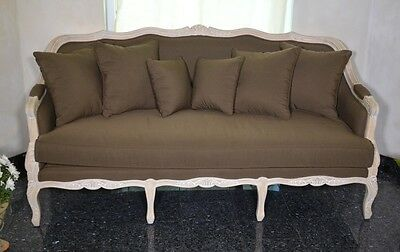 French Sofa Couch 3-Seater Vintage Retro Brown Fabric Antique White Carved Wood