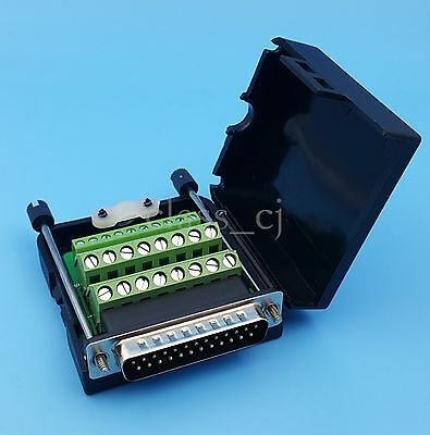 DB25 D-SUB Male 25Pin Plug Terminals Black Cover Screw Solderless Connector