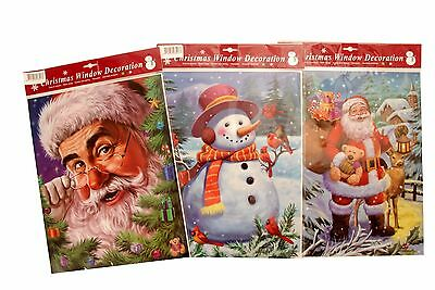 Christmas Xmas Window Decoration Stickers Decor Home Santa Snowman