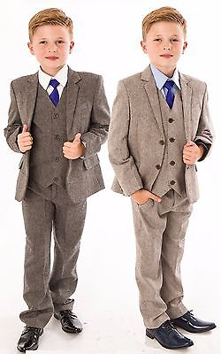 Boys Suits Boys Wedding Suit 5pc Tweed Waistcoat Suit Page Boy Baby Formal Party