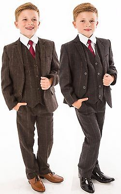 Boys Suits Boys Wedding Suit 5pc Tweed Waistcoat Suit Page Boy Formal Party New