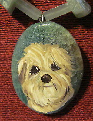 Havanese hand painted on oval Agate pendant/bead/necklace