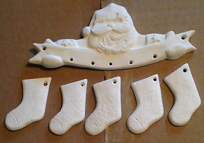 ~Teddy Bear Ceramic Bisque Santa with Stockings Ornament Ready to Paint~