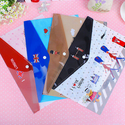 (Pack of 4) Mixed Colour City London Theme Students Plastic Envelop File Folder