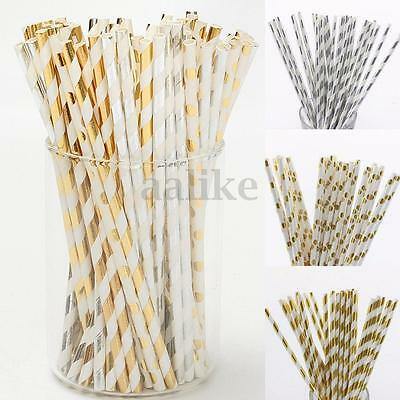 25/50Pcs Vintage Gold Silver Foil Drinking Paper Straws Wedding Birthday Party