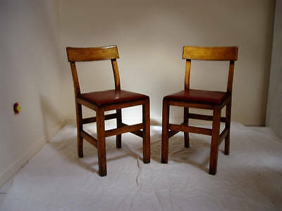 CHAIRS X 2 WOOD KITCHEN OXBLOOD LEATHER SEATING WITH STUDS VINTAGE c1930
