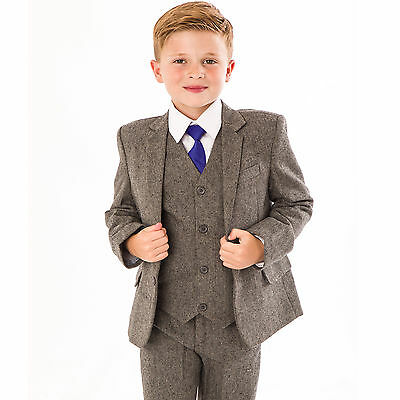 Boys Suits Wedding Suit 5pc Tweed Waistcoat Suit Page Boy Formal Party grey