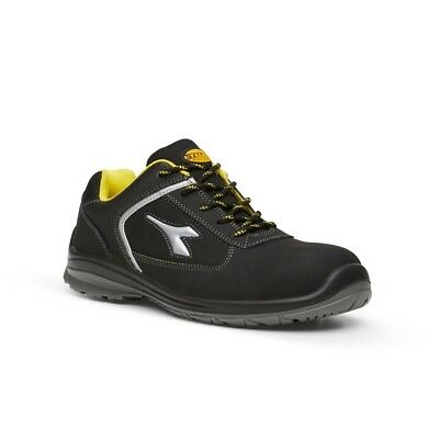Diadora Utility Bassano Low Black and Yellow Safety Shoes with Toe Cap