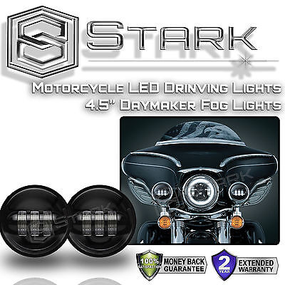 "4.5"" In CREE LED Black Spot Fog Passing Light Lamp For Harley Davidson - PAIR"