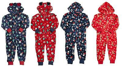 Boys Girls FLEECE All In One Suit CHRISTMAS  HOODED Blue Red Santa Snowman Xmas