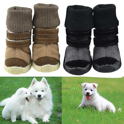 Winter Pet Dog Puppy Anti-slip Cotton Shoes Sneaker Warm Snow Boots Protective