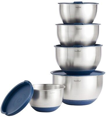 VonShef 5 Piece Mixing Bowl Set Brushed Stainless Steel With Lids Stackable