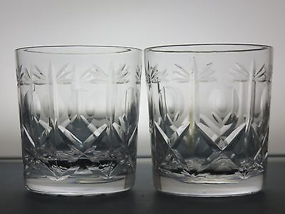 "Brierley Hill Crystal ""cross & Hollow"" Pattern Whisky Tumblers Set Of 2"