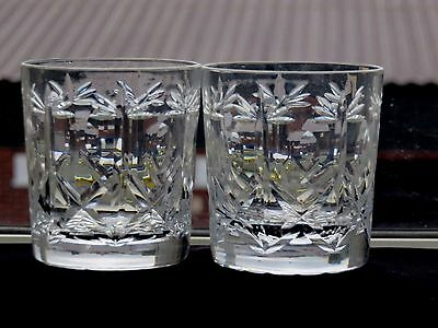 """Brierley Hill Crystal """"cross & Hollow"""" Pattern Whisky Tumblers Set Of 2"""