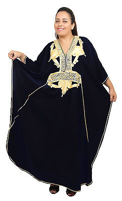 Plus size Caftan Moroccan Handmade Kaftan Women Beach Summer Dress Abaya Black