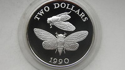 1990 Bermuda $2 Cicada silver Proof coin with CoA