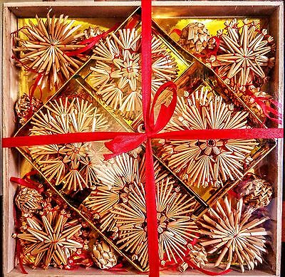 Scandinavian Straw Christmas Ornaments Box of 56 Brand New Stars, Angels more!