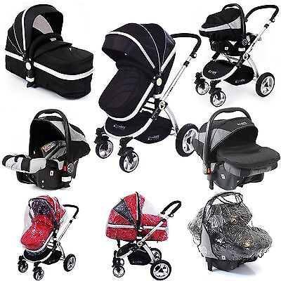 iSafe Baby Luxury Pram Travel System 3 in 1 Black Car Seat + Raincovers