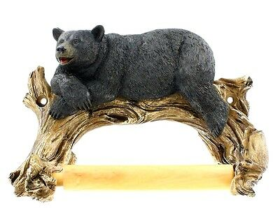 Western Black Bear Lounging Toilet Paper Holder - Rustic, Country, Cabin, Lodge