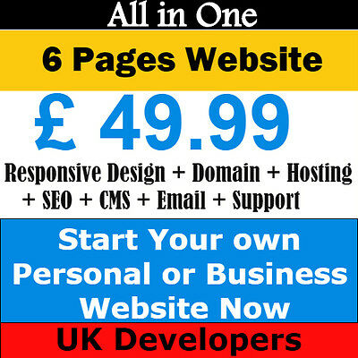 6 Pages Website Design + Domain + Hosting + SEO + Responsive Layout + emails