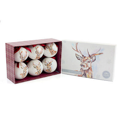 Winter Stag Set of 6 Christmas Tree Bauble Decorations - Gift Boxed