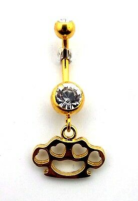 Dangle Belly Button Ring Brass Knuckles with Hearts Gold Titanium Plated