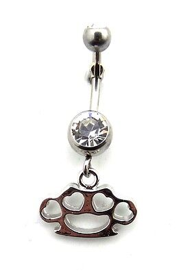 Dangle Belly Button Ring Brass Knuckles Hearts Clear CZ Gems Surgical Steel 14g
