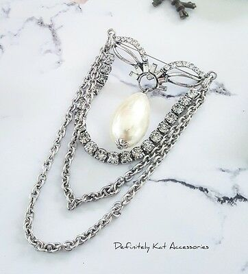 Stunning large silver antique white crystal & pearl drop statement pin brooch