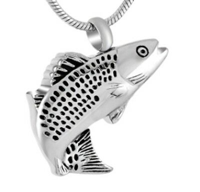 """Fancy Fish Cremation Jewelry Keepsake Pendant Urn With 20"""" Necklace & Funnel"""