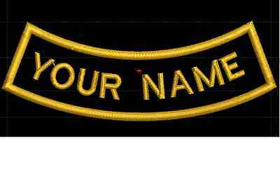 CURVE CUSTOM EMBROIDERED NAME TAG Sew on patch Quality Badge (Inverse)