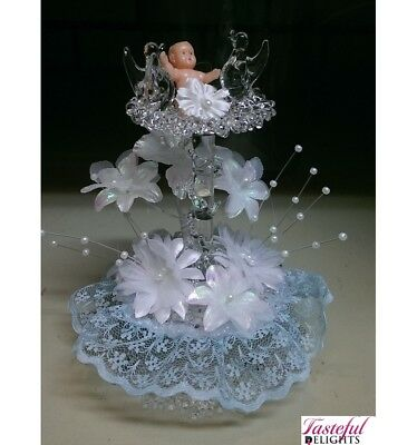 Christening Cake Topper Glass Font Top Blue