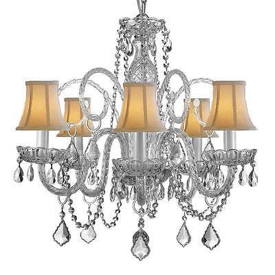 Gallery Venetian Style All Crystal 5 Light Chandelier with White Shade