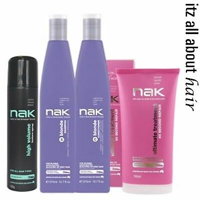 NAK Blonde Shampoo & Conditioner + Ultimate Treatment and High Volume quad Pack