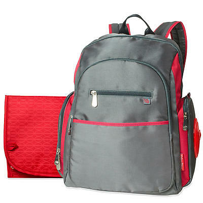 Fisher Price Ripstop Backpack Diaper Bag- Grey/Red