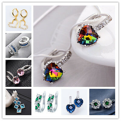 Fashion Jewelry 925 Sterling Silver Gems Sapphire Stud Dangle Drop Hoop Earrings