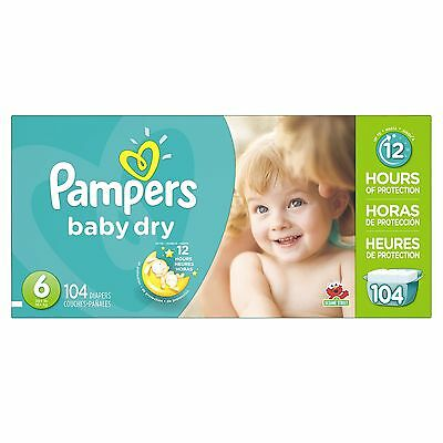Pampers Baby Dry Size 6 Economy Pack 104 Count- Packaging May Vary