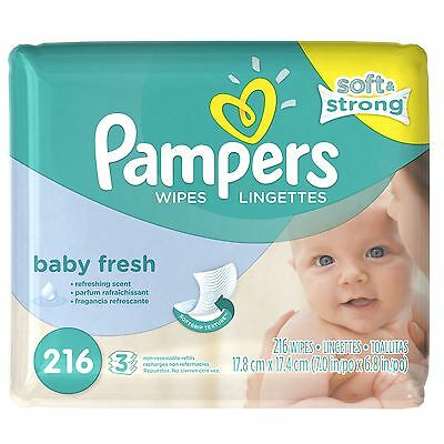Pampers Baby Fresh Wipes 3x Refill 216 Count