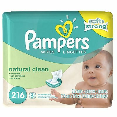 Pampers Natural Clean Wipes 3x Refill 216-Count