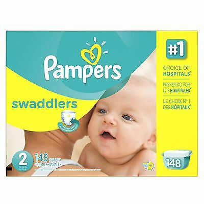 Pampers Swaddlers Size 2 Economy Pack 148 Count- Packaging May Vary