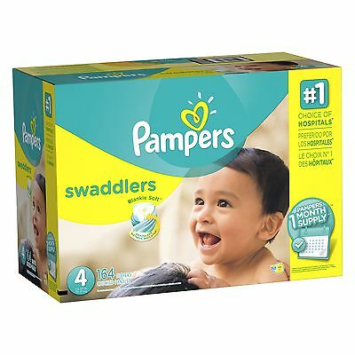 Pampers Swaddlers Diapers Size 4 One Month Supply 164 Count Size 4, 164 Count