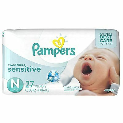 Pampers Swaddlers Sensitive Newborn Diapers Size 0 27 Count